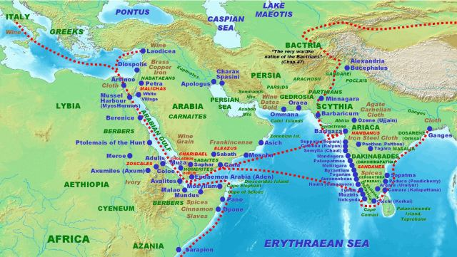 Roman trade with ancient Coastal South West India according to the Periplus Maris Erythraei 1st century AD.